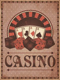 Old vintage casino invitation card Stock Photo