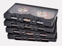 Old vintage cassette tapes on a white Stock Photo