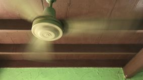 Old vintage ceiling electric fan stock video