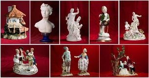 Old vintage ceramic figurines Stock Photography