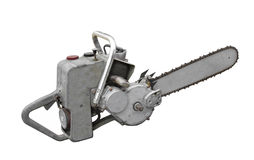 Old Vintage Chainsaw Isolated. Stock Photo