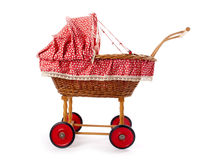 An old vintage childrens doll stroller Royalty Free Stock Photos