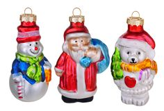 Old vintage christmas toys. Isolated over white royalty free stock image