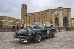 Old vintage classic car fiat spider 124 lecce Stock Image
