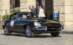 Old vintage classic car jaguar e type black Royalty Free Stock Photos