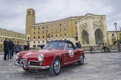 Old vintage classic car spider alfa romeo giulietta Stock Photo