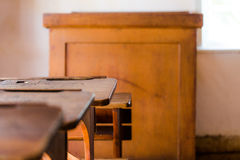 Old vintage classroom in village chamber house with wooden table. S and teacher pulpit, Muzeum Wsi Opolskiej September 2015 Royalty Free Stock Photos
