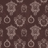 Old vintage clock seamless pattern Royalty Free Stock Images