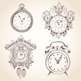 Old vintage clock set Stock Images