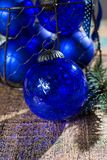 Old vintage cobalt blue Christmas tree balls from glass Royalty Free Stock Photography