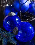 Old vintage cobalt blue Christmas tree balls from glass. Close up Royalty Free Stock Photography