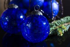 Old vintage cobalt blue Christmas tree balls from glass. Close up Stock Photo