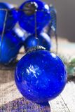Old vintage cobalt blue Christmas tree balls from glass Royalty Free Stock Photo