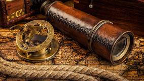 Old vintage compass on ancient map Royalty Free Stock Photos