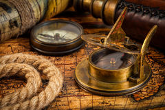 Old vintage compass on ancient map Royalty Free Stock Images