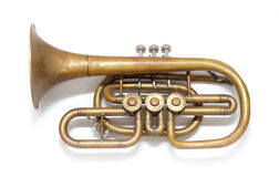 Old vintage copper trumpet. Isolated over white Stock Photos
