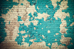 Old vintage crack wall, abstract blue brick pattern background. Royalty Free Stock Images