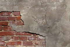 Old Vintage Cracked Brick Wall Textured Grunge Background Royalty Free Stock Images