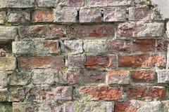 Old Vintage Cracked Brick Wall Textured Grunge Background. Old Vintage Cracked Rough Brick Wall Textured Grunge Background Stock Photo