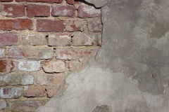 Old Vintage Cracked Brick Wall Textured Grunge Background Royalty Free Stock Photography