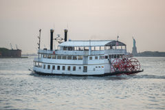 Old vintage cruise tourist ship in New York City Royalty Free Stock Photography
