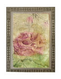 Old vintage crumpled card with hand drawn rose Royalty Free Stock Photos