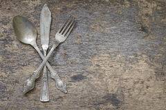 Old vintage cutlery and dishware Royalty Free Stock Photography