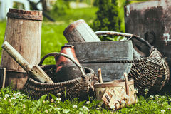 Old vintage details and things. The stylized photo. Retro agriculture. Royalty Free Stock Image