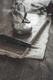 Old vintage diary book on wooden table. Royalty Free Stock Photography