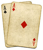 Old Vintage Dirty Aces Poker Cards. Stock Photos
