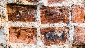 Old Vintage Distressed Red Brick Wall Vertical Texture. Shabby Brown - Red Brickwall Urban Background. Grungy Street. Exterior Stonewall Surface. Abstract Solid stock image