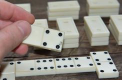Old vintage dominoes Stock Photo