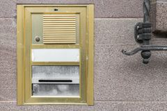 Old vintage door bell with intercom, Germany stock images