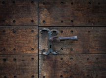 The old vintage door handle and keyhole Royalty Free Stock Photos