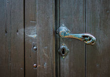 The old vintage door handle and keyhole Stock Photography