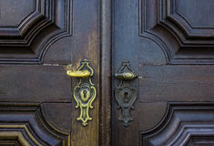 The old vintage door handle and keyhole Royalty Free Stock Image