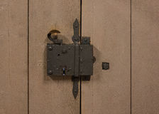The old vintage door lock and keyhole Stock Photos