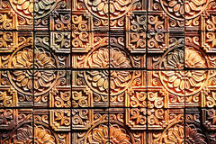Old vintage earthenware wall  tiles patterns handcraft from thailand public. Old vintage earthenware wall  tiles patterns handcraft from thailand public Stock Image