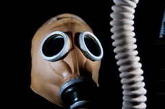 Old vintage european military gas mask with hose. Royalty Free Stock Photo