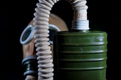 Old , vintage, european military gas mask isolated on black background. Royalty Free Stock Photo