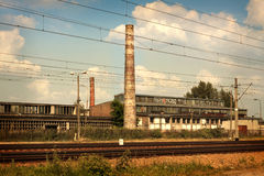 Old vintage factory - industrial landscape Royalty Free Stock Photography
