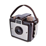 Old vintage film camera. Old basic rangefinder film camera, made with brown plastic and aluminium Royalty Free Stock Images