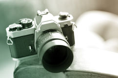 Old Vintage Film Camera with Manual Focus Lens Stock Photography