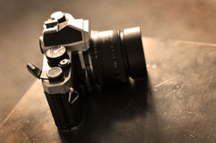 Old Vintage Film Camera with Manual Focus Lens Royalty Free Stock Images