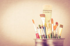 Old Vintage filter style, Group of Used paint brush in silver bu Royalty Free Stock Images