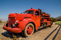 Old vintage fire truck in death valley national Stock Photo