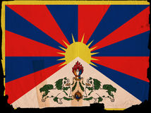 Old Vintage Flag Tibet Stock Photo