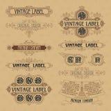 Old vintage floral elements - ribbons, monograms, stripes, lines, angles, border, frame, label, logo Stock Images