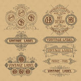 Old vintage floral elements - ribbons, monograms, stripes, lines, angles, border, frame, label, logo Royalty Free Stock Photography