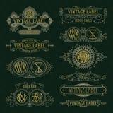Old vintage floral elements - ribbons, monograms, stripes, lines, angles, border, frame, label, logo Stock Photography